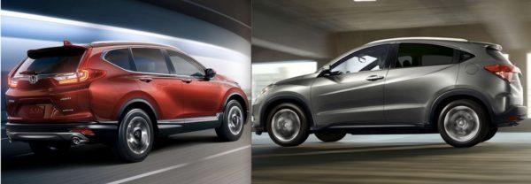 Left: the 2017 Honda CR-V. Right: The 2018 Honda HR-V.
