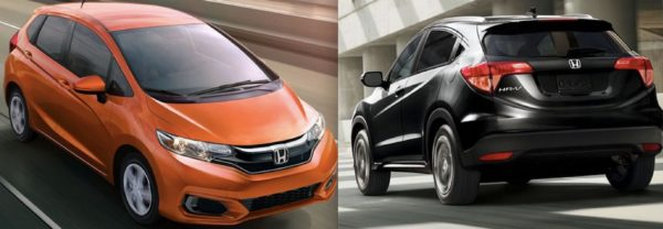 An image of the 2018 Honda HR-V next to an image of the 2018 Honda Fit