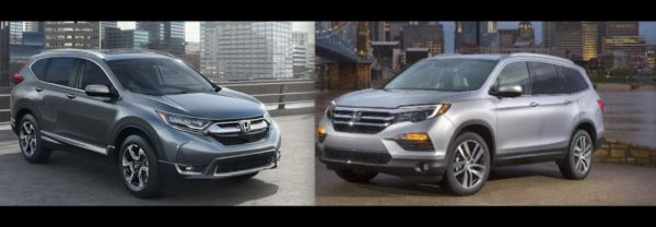 The Honda CR-V (left) and the Honda Pilot (right).